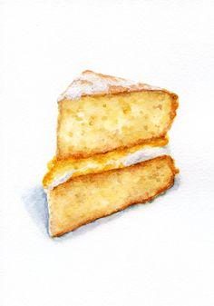 Lemon Curd Cake ORIGINAL Painting Vintage por ForestSpiritArt