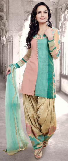 Pastel #Blue and Peach #Cotton Readymade #Patiala Suit @ $140.44