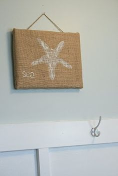 starfish painted on burlap...would be adorable in a series