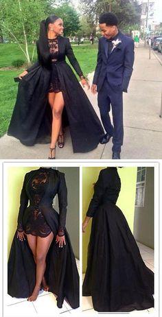 Vintage Long Sleeve Sexy Black A-Line Lace Satin Prom Dresses OKE16 Black Girl Prom Dresses, Junior Prom Dresses, Unique Prom Dresses, Prom Dresses With Sleeves, Homecoming Dresses, Girls Dresses, Wedding Dresses, Long Dresses, Prom Outfits