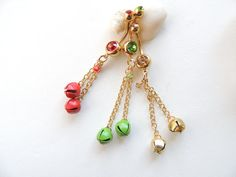 Jingle Bells Belly Button Ring You Choose Colors!!  by SeductiveBodyWorks
