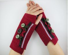 recycled wool arm warmers fingerless gloves