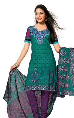 GREEN & PINK COTTON SALWAR KAMEEZ - DISH 1024