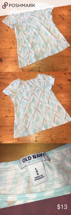 """[Donated to Harvey Relief] Chevron Tee ✔️GUC ON Chevron Tee ✔️Size L ✔️GUC worn with love. Super soft!  ✔️White, tan and light """"Tiffany Blue"""" ✔️Chest 36"""" ✔️Waist 34"""" ✔️Hips 40"""" ✔️Length shoulder to hem 23.5"""" Old Navy Tops Tees - Short Sleeve"""