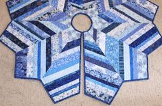 """Large Christmas Tree Skirt Quilt,  54"""" diameter - Chevron Style, Snowflakes, Holiday Patchwork, String Quilted Blue and White Tree Skirt"""