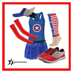 """""""captain america running costume"""" by sparkleathletic ❤ liked on Polyvore featuring NIKE"""