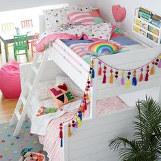 Our Uptown Twin-Over-Full Bunk Bed (White) features clean, crisp lines for a modern look in your kids' room.