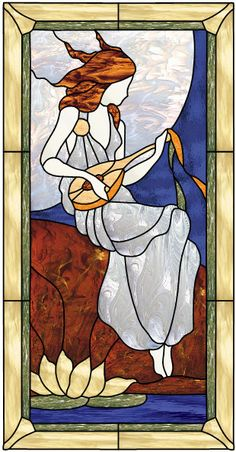 Model for stained glass and lute & # Stained Glass Quilt, Stained Glass Angel, Stained Glass Lamps, Stained Glass Designs, Stained Glass Projects, Fused Glass Art, Stained Glass Patterns, Glass Painting Patterns, Glass Painting Designs
