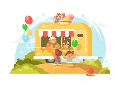 Van ice cream by Anton Fritsler (kit8) #Design Popular #Dribbble #shots