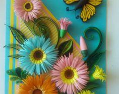 Tarjeta de felicitación tarjeta Quilling, tarjeta hecha a mano, tarjeta Quilling de cumpleaños, flores de quilling con mariposa, tarjeta de felicitación, mariposa Quilling