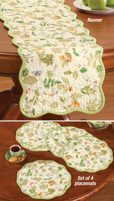 Dress up your dining table with country inspired Floral Garden Quilted Table Linens