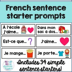 French sentence starter prompts Includes: 34 sentence starters/prompts to help with oral communication and sentence generation in French classrooms (French Immersion or Core French) French Flashcards, French Worksheets, Teaching French Immersion, French Sentences, French Verbs, Communication Orale, Spanish Teaching Resources, Learning Spanish, French Resources