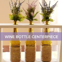 Dress Up Your Dinner Table With This Upcycled Wine Bottle Centerpiece; Blue Brotherhood bottle would look great in this design! Home Crafts, Diy Home Decor, Diy And Crafts, Wine Dinner, Dinner Table, Biscuit, Wine Bottle Centerpieces, Centrepieces, Wine Bottle Crafts