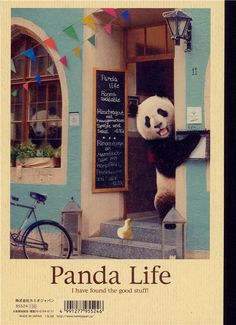Japanese panda bear in the coffeeshop notepad exercise book