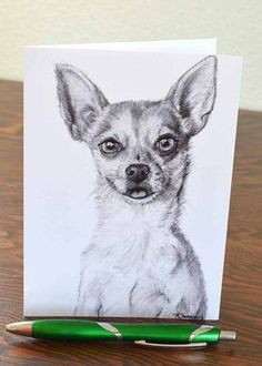 Chihuahua Drawing Greeting Card - 5x7 Chihuahua Art on Etsy, 3,75 €