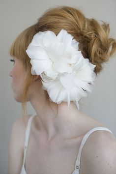 Bridal feather flower headpiece, hair comb - Flourish double feather flower - Style 014 - Made to Order. $130.00, via Etsy.