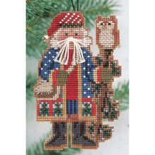 """""""Juniper Branch Santa"""" counted kit (perforated paper, beads) 