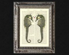 Seahorses and love heart on vintage encyclopedia by VintageTextArt, $10.00
