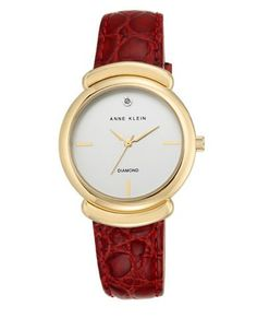 Anne Klein Goldtone Stainless Steel Leather Strap Analog Watch Women's