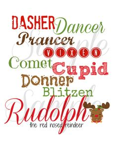 RUDOLPH the Red Nose REINDEER Funny Subway art by LemonSqueezeDesigns