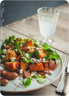 Süßkartoffelsalat mit Speck Yummy Vegetable Recipes, Potato Recipes, Healthy Recipes, Vegetable Salad, Winter Food, Grilling Recipes, Bruschetta, Superfood, Potato Salad