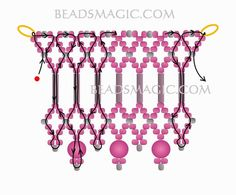 Free pattern for beaded choker necklace Jenner   U need: seed beads 11/0 bugles beads round beads 4- 6 mm