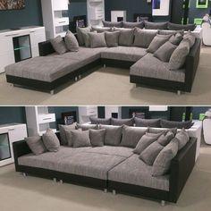 Wohnlandschaft Claudia XXL Ecksofa Couch Sofa mit Hocker schwarz und graubeige in Möbel & Wohnen, Möbel, Sofas & Sessel   eBay