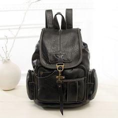 Popular Large-Capacity Vintage Leather Drawstring Fashion Backpack 5 Colors