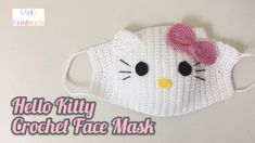Cute hello kitty crochet face mask or face warmer Yarn : For the mask and ears - Alize Cotton Gold Sport) For the eyes - Alize Cotton Gold Fine Fingeri. Crochet Mask, Crochet Faces, Cute Crochet, Crochet For Kids, Beautiful Crochet, Easy Crochet, Tutorial Crochet, Easy Face Masks, Face Masks For Kids