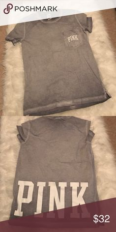 Vintage pink tee with pocket Brand new super cute & oversized PINK Victoria's Secret Tops Tees - Short Sleeve