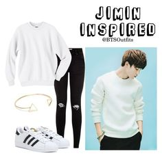 """""""Jimin Inpsired Outfit"""" by btsoutfits ❤ liked on Polyvore featuring Hanes, adidas and NLY Accessories"""