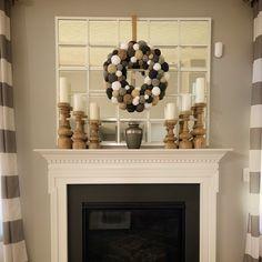 Farmhouse wreath with jute monogram Pine Cone Art, Shabby Chic Wreath, Silver Ornaments, Monogram Wreath, Tea Stains, Yarn Ball, Shades Of White, Holiday Wreaths, Felt Flowers