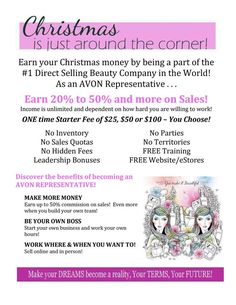 The countdown to Christmas has begun! Everyone could use some more money to buy presents! It's not too late to become an Avon representative!  #avonrep #wahm #directselling #workathome