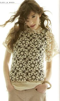 Perfect lacy top for summer. (the girl's face kind of creeps me out, though..)