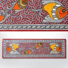 Madhubani painting featuring fishes