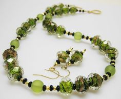 Lime Green Necklace Set - Lampwork Necklace - Matching Earrings - Green - Sea Glass. $89.00, via Etsy.