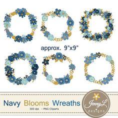 Navy Blue Flower Wreath Clipart Wedding By JennyLDesignsShop