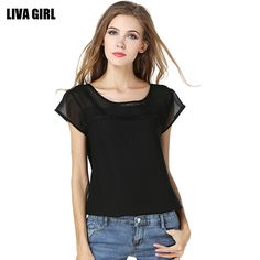 >> Click to Buy << Blusas Feminina 2017 Black White Solid Color Short Sleeve Patchwork O Neck Casual Sexy Chiffon Summer Blouse Shirt Tops Women #Affiliate