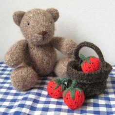 Nutmeg Teddy Bear and Basket of Strawberries toy by fluffandfuzz, £2.50