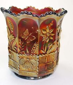 vintage Carnival glass spooner, Springtime pattern