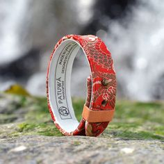 Japanese Kimono and leather bracelet. Dragon. Made in Japan