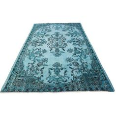 """Aqua Over-Dyed Turkish Oushak Rug - 5'7"""" x 9'1"""" ($1,800) ❤ liked on Polyvore featuring home, rugs, traditional handmade rugs, faux rug, woven area rugs, hand woven rugs, weave rug and hand loomed rug"""