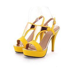 QueenFam Womens Open Toe High Heel Platform Stiletto PU Soft Material Solid Sandals with Metal and Buckle, Yellow, 34 QueenFam http://www.amazon.com/dp/B00KZ8SWNY/ref=cm_sw_r_pi_dp_0jmZtb1MHGKJZX35