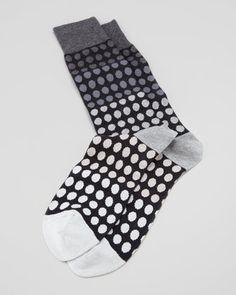 Faded Polka-Dot Men's Socks, Gray  by Paul Smith at Neiman Marcus.