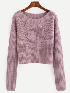 Shop Pale Purple Hollow Out Long Sleeve Sweater online. SheIn offers Pale Purple Hollow Out Long Sleeve Sweater & more to fit your fashionable needs. Sweater And Shorts, Long Sleeve Sweater, Long Sleeve Tops, Handgestrickte Pullover, Pullover Sweaters, How To Purl Knit, Cable Knit Sweaters, Ribbed Sweater, Loose Sweater