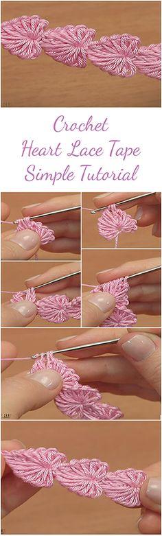 Crochet Heart Lace Tape Simple Tutorial