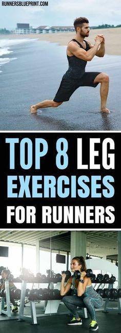 Top 8 leg strength exercises for runners. Top 8 leg strength exercises for runners. Leg Strength Workout, Strength Exercises For Runners, Leg Strengthening Exercises, Best Leg Workout, Strength Training For Runners, Leg Exercises, Runners Legs, Leg Training, Running Training