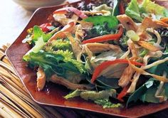 Sweet and Spicy Chinese Chicken Salad  This low-cal salad is packed with protein and a rich mix of veggies, and perfectly combines sweet hoisin with spicy red pepper flakes for a burst of flavor.