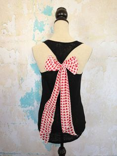 HEART BOW Black Tank Top with Red and White Heart Bow Scarf on Slub Black Tank Top Hi Low Tank with Valentine's Heart Bow Size Small. $36.00, via Etsy.