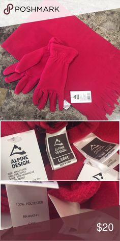 "Alpine Design Pink Fleece Scarf & Gloves Set! NWT! New with tags, never worn! Alpine Design lightweight fleece scarf & glove set in the color ""Cerise"", a deep hot pink/bright fuchsia. Pink stitched logo. Gloves have elastic wrist for secure fit & are stretchy. Scarf has stylish tassle/fringe ends. Measures approx. 61"" L x 10"" W; fringe length 2.5"". 100% polyester. Gloves size adult large. No trades! Alpine Design Accessories"